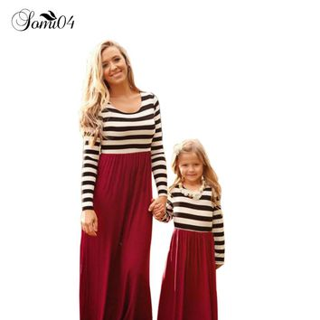 Family Matching Outfits Baby Girl and Mom Maxi Large Long Sleeve Dresses  Autumn Fashion Striped Stitching Children Clothing
