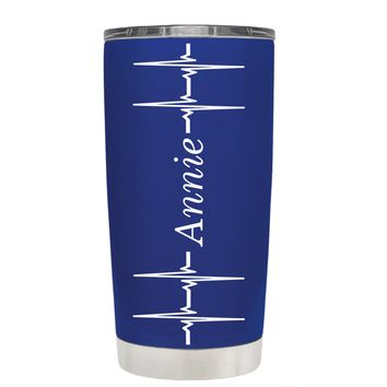 Personalized Heart Beat Pulse on Blue 20 oz Tumbler Cup