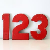 Vintage Red Marquee Numbers and Dollar Sign