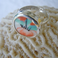 Broken China Ring Chaney Ring  Sterling Silver Ring  Orange Black Ring  Any Size 100% Handcrafted