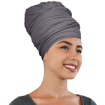 🎁 ONE DAY SALE Novarena Smoky Gray Solid Color Head Wrap Stretch Long Hair Scarf Turban Tie Kente African Hat Jersey Knit Headwrap