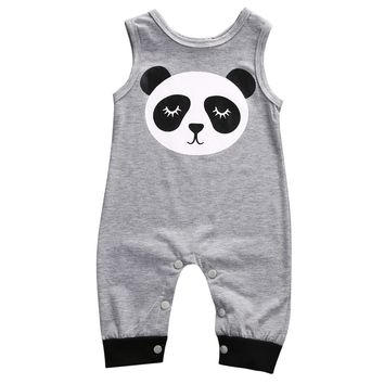 Cute Panda Gray Sleeveless Jumpsuit for NB Boys NB Girls