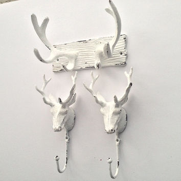 faux antlers and deer coat hooks set, man cave, shabby chic, rustic, nature