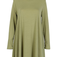 Green Cut Out Back Long Sleeve Dress