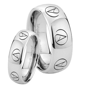 His Hers Atheist Design Mirror Dome Tungsten Mens Wedding Ring Set