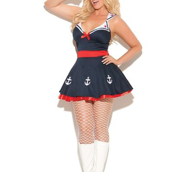 Plus Size Sailor's Delight - 2 pc costume includes dress with attached collar and hat Navy