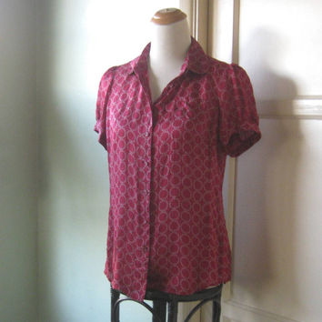 Sweet Cherry Red Silk Blouse; Medium-Large - Short Sleeve Red Circle Print Top - Red Party Blouse - Red Date Blouse - Silk Career Shirt