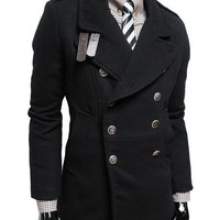 Turn-down Collar Long Sleeve Woolen Trench Coat