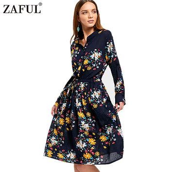ZAFUL Autumn Floral Print Long Women Shirt Dress V Neck Button Up High Waist Knee Length A Line Dress Streetwear Female Vestidos