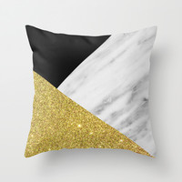 Marble & Gold Geometry Throw Pillow by Cafelab