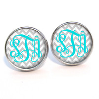 Monogram Stud Earrings Light Grey Chevron Turquoise (383)