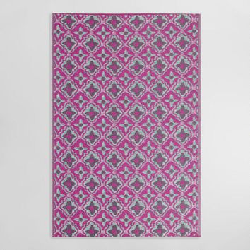 4ftx6ft Pink and Green Reversible Indoor Outdoor Rio Mat