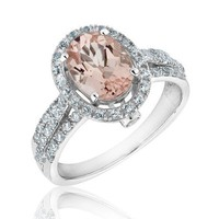 Morganite and Created White Sapphire Ring