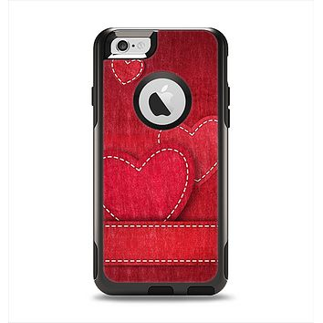 The Pocket with Red Scratched Hearts Apple iPhone 6 Otterbox Commuter Case Skin Set