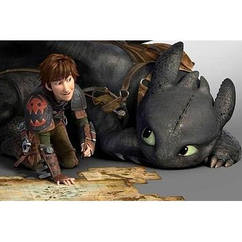 5D Diamond Painting Hiccup and Toothless Map Kit