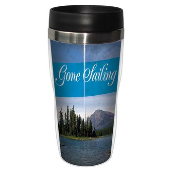 Gone Sailing Artful Travel Mug - Premium 16 oz Stainless Lined w/ No Spill Lid