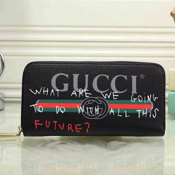GUCCI Trending Fashion  Women Print Leather Clutch Bag Purse Wallet G