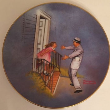 "Norman Rockwell Plate American Family Series II ""We Missed You Daddy"" # 1190"