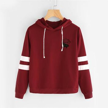 Women Burgundy Rose Patch Hooded Sweatshirt Fall Embroidery Long Sleeve Basic Hoodies