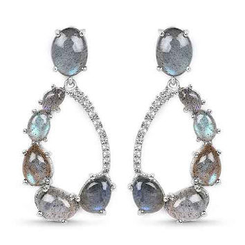 17.84 Carat Genuine Labradorite & White Topaz .925 Sterling Silver Earrings
