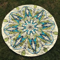 Round Psychedelic Colorful Hippie Beach Throw
