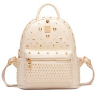 Beige Studded Backpack