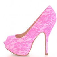 Neon Pink Lace Peep Toe Pump Heels @ Amiclubwear Heel Shoes online store sales:Stiletto Heel Shoes,High Heel Pumps,Womens High Heel Shoes,Prom Shoes,Summer Shoes,Spring Shoes,Spool Heel,Womens Dress Shoes,Prom Heels,Prom Pumps,High Heel Sandals,Cheap Dres