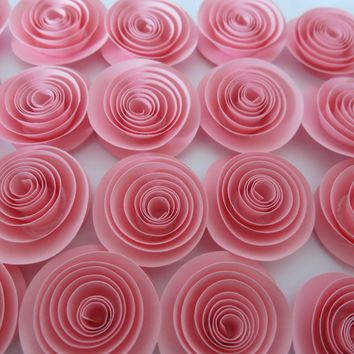 """cute pink paper flowers set of 24 bulk roses lot girl nursery ideas baby shower decor wedding reception table scatter bridal party gift 1.5"""""""