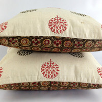 Reversible Outdoor Pillow, Bohemian Decor, Hostess Gift Idea, Ethnic Textile Accent Pillow, Linen pillow, Country Rustic Designer Pillow