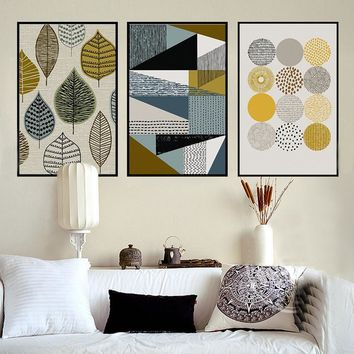 3 Pcs Abstract Geometric Decorative Modular Picture Wall Art Canvas Painting Poster for Living Room No Framed