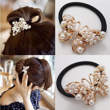 New 2016 Hot Sale Fashion Women Hair Accessories brand Pearl Bungees Chic Butterfly Elastic hair Bands fashion hair ropes