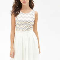 FOREVER 21 Sequin A-Line Dress Gold/Grey