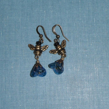 Blue Flower Bee Earring Brass Gift under 20 fashion