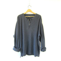 vintage charcoal gray long sleeve long underwear top. minimal look button front shirt / basic henley /  COED oversized shirt