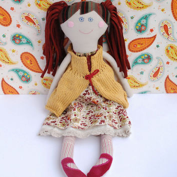 Stuffed Textile Doll for Daughter, Handmade Soft Doll in Mustard Vest, Rag Clotch Doll, Perfect Girl Shower Gift, Birthday Presents