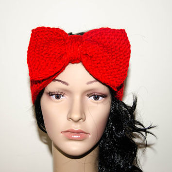 Red knitted headband, Ear warmer, Bow tie knitted headband, chunky head wrap, Winter accessories, Cozy fashion head wrap.