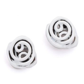 Wire Rose Button Earrings