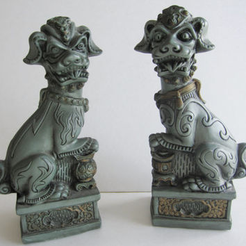 Vintage Antique 1964 Foo Dog Lion Set Asian Orient Statue Sculpture Green Gold Twins Zen Figurine Guardian Good Luck