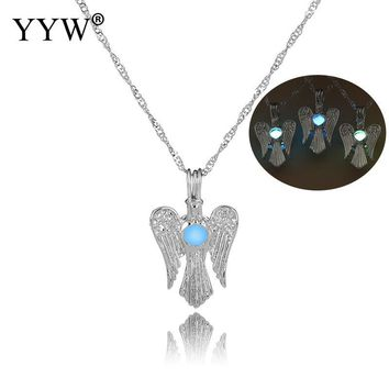 Glow in the Dark Love Angel wings Necklace Pendant/Locket Antique Silver Bells Luminous stone Jewelry
