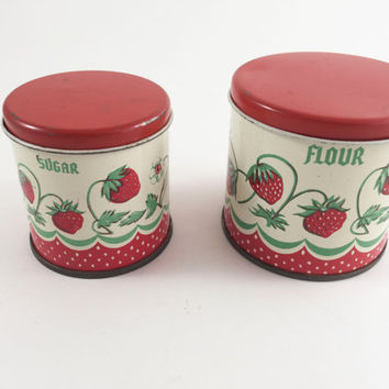 Vintage Metal Kitchen Canisters Kids Play Set Tin Red Strawberry Play Kitchen Canisters Flour And Sugar Set Of 2 By Wolverine Tin Toy