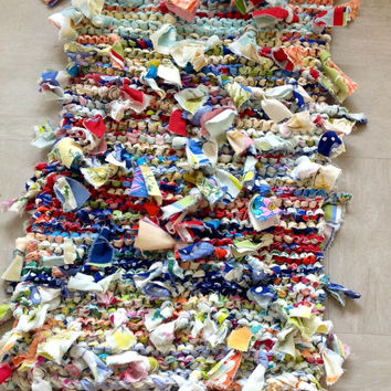 Rag Rug Knitted Shabby Chic