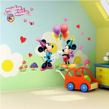 Mickey Mouse Minnie Wall Stickers For Kids Room Decoration Diy Animals Mural Art Home Decals Peel And Stick