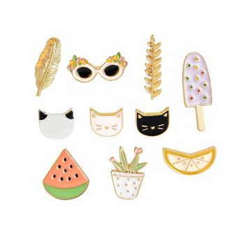 Trendy Cat Watermelon Orange Ice Cream Leaf Sunglasses Plant Brooch Button Pins Denim Jacket Pin Badge Cartoon Fashion Jewelry Gift AT_94_13