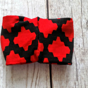 Red / Black Turban Headband