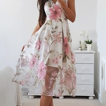 Off To The Races White Pink Floral Sleeveless V Neck Pleated A Line Midi Dress