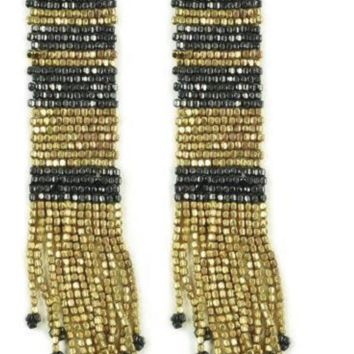 Ink + Alloy | GOLD WITH GUNMETAL LONG STRIPE SEED BEAD EARRINGS