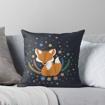 'Cute Fox' Throw Pillow by ValentinaHramov