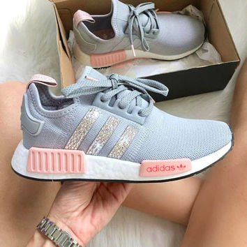 Fashion Women ADIDAS NMD Running Sport Casual Shoes Sneakers Shining Grey Shining B-CSXY