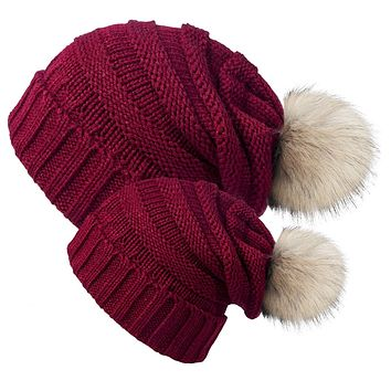 Mommy & Me Pom Pom Beanie Hat - Burgundy Set