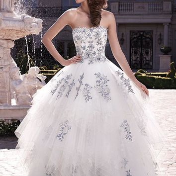 Casablanca Bridal 2139 Strapless Lace Ruffle Ball Gown Wedding Dress